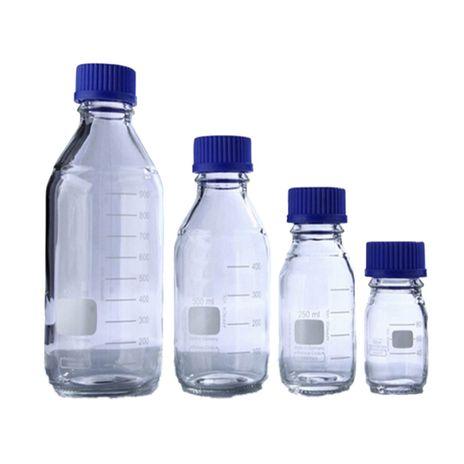 Frasco Reagente de Vidro Boro 3.3 C/ Tampa de Rosca PP Azul 500ml