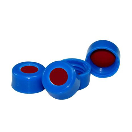 Septo PTFE Branco Pré-cortado PTFE Branco / Silicone Vermelho, Tampa de Rosca Curta de 9mm Em PP Azul, PCT 100und